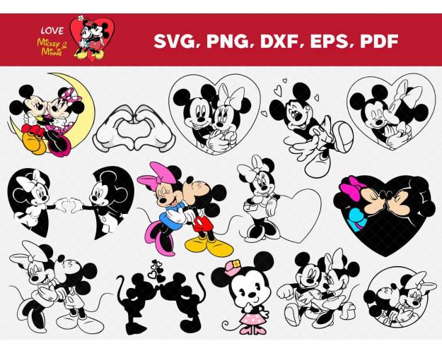 Mickey and Minnie SVG 70+ Bundle, Mickey Cricut, Minnie Clipart
