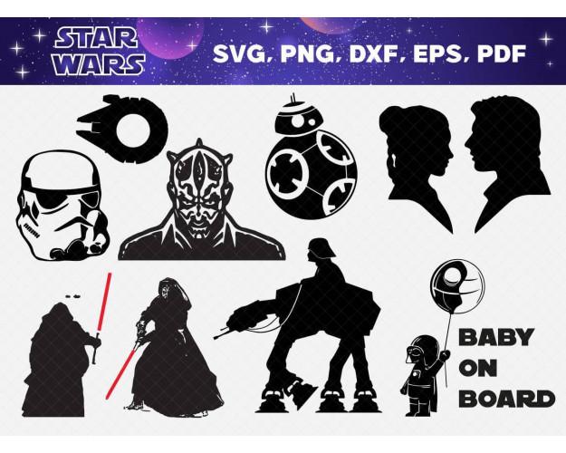 Star Wars SVG 60+ Bundle, Star Wars Cricut, Star Wars Clipart