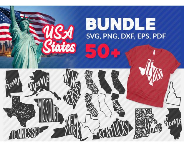 USA SVG 50+ Bundle, USA Cricut, USA Clipart