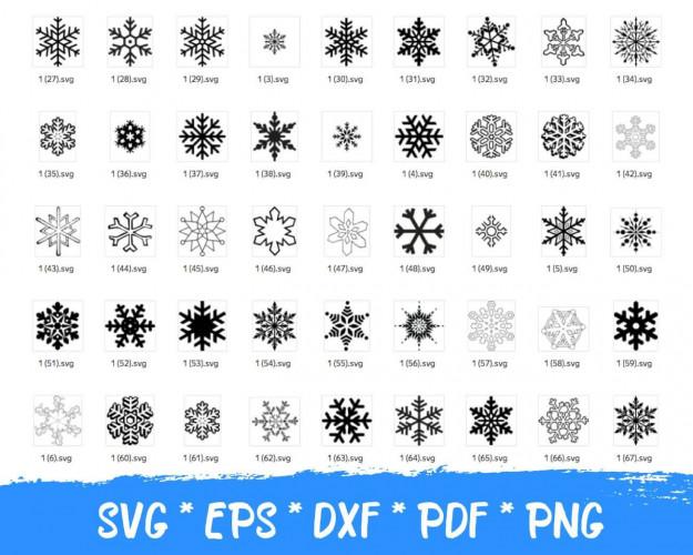Snowflakes SVG Bundle 200+ SVG, PNG, DXF, PDF 2.0