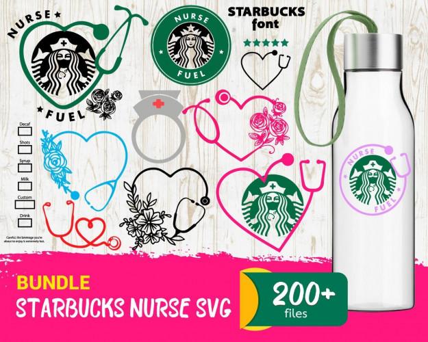 Starbucks Nurse SVG Bundle 200+ SVG, PNG, DXF, PDF 2.0