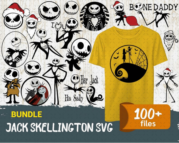 Jack Skellington SVG 100+ Bundle, Jack Skellington Cricut, Clipart