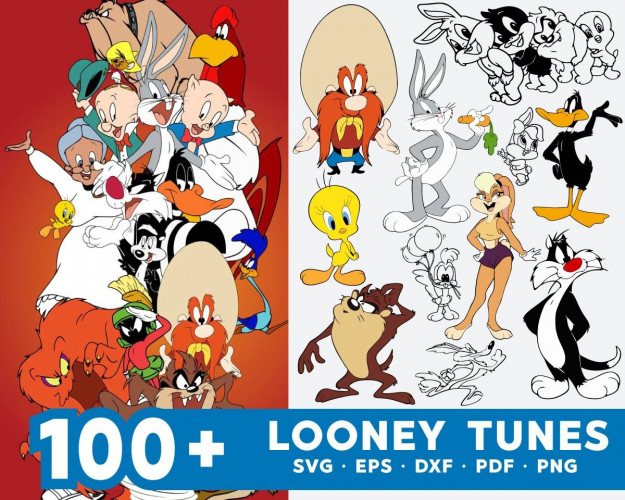 Looney Tunes SVG 100+ Bundle, Looney Tunes Cricut, Clipart