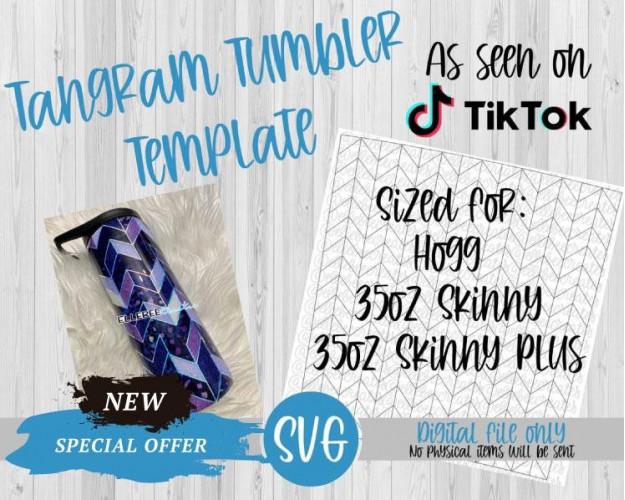 Tangram Tumbler Template SVG 35oz Skinny, Skinny Plus Hogg