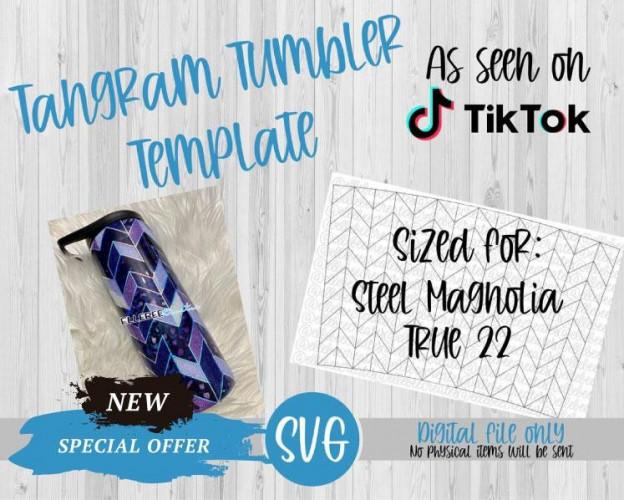 Tangram Tumbler Template SVG True 22 Steel Magnolia