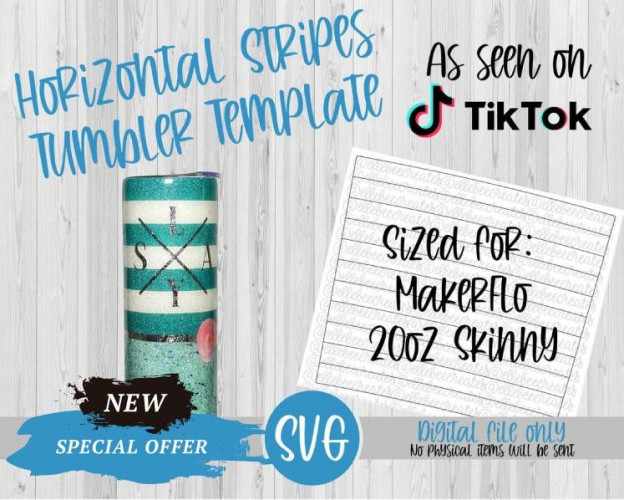 Horizontal Stripes Template SVG 20oz Skinny Tapered MakerFlo