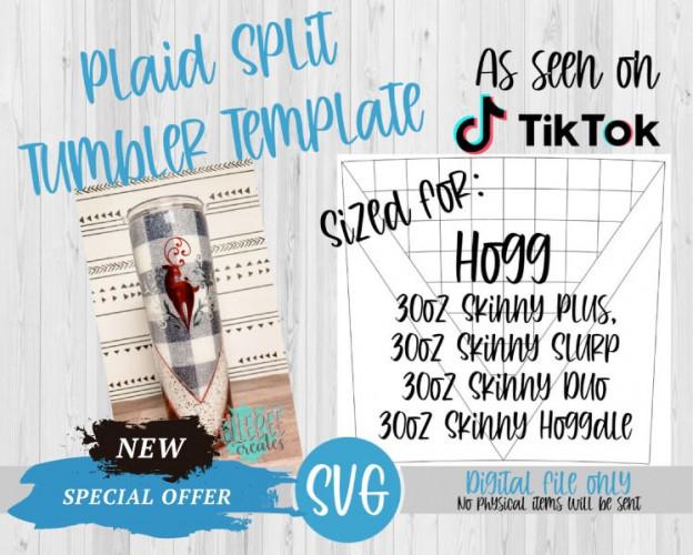 Plaid Split Tumbler Template SVG 30oz Skinny Plus