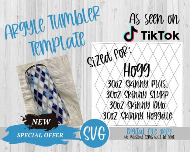 Argyle Tumbler Template SVG 30oz Skinny Plus