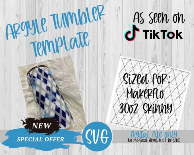 Argyle Tumbler Template SVG 30oz Skinny Tapered MakerFlo