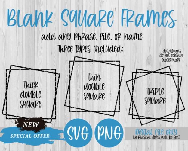 Blank Square Frames, Double Frame, Triple Frame, SVG PNG