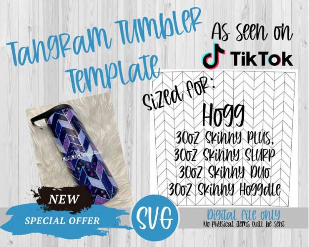 Tangram Tumbler Template SVG 30oz Skinny Plus