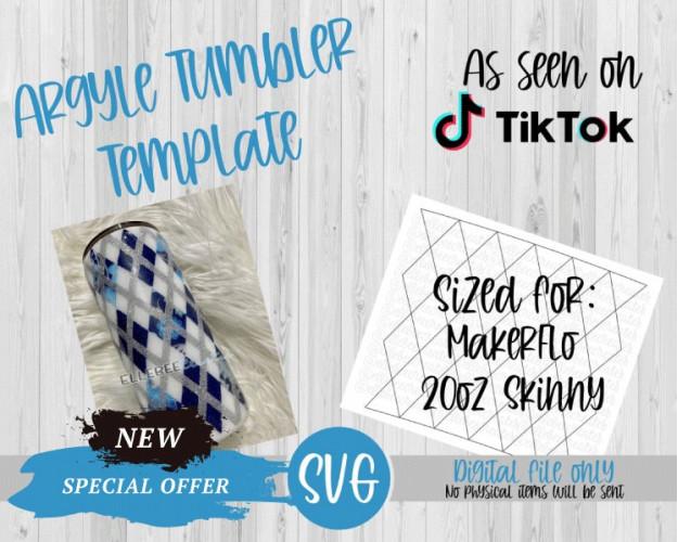 Argyle Tumbler Template SVG 20oz Skinny Tapered MakerFlo