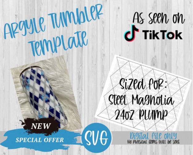 Argyle Tumbler Template SVG 24oz PlumpHydrofit Steel Magnolia