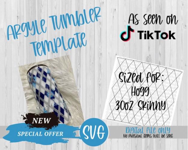 Argyle Tumbler Template SVG 30oz Skinny Hogg