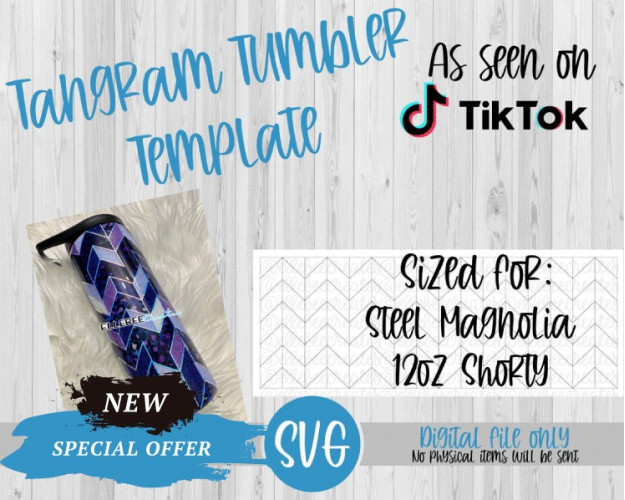 Tangram Tumbler Template SVG 12oz Shorty Steel Magnolia