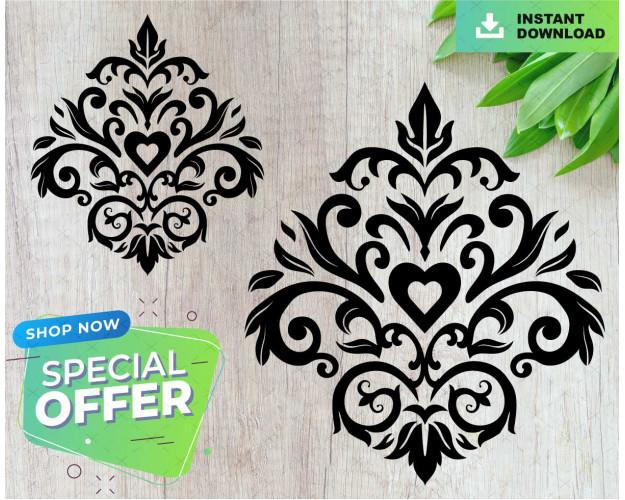 Damask Heart Floral Baroque Ornament Digital PNG SVG Silhouette Cricut