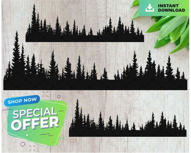 Treeline Silhouette SVG Forest ready to cut file Trees Vector Nature Camping Woods Clipart Background Tree file Tumbler
