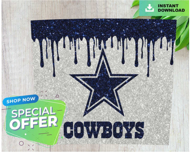 Dallas Cowboys Glitter Drip Tumbler Wrap, Digital Download, Tapered and Straight Template, Football Design