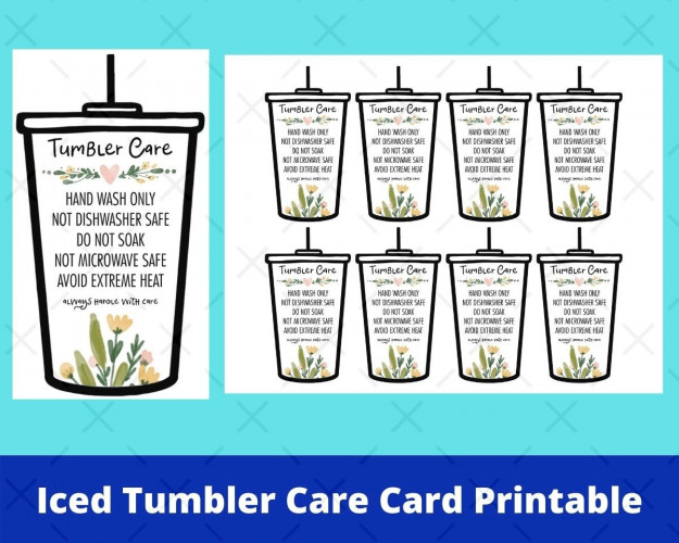 Iced Tumbler Care Card Printable