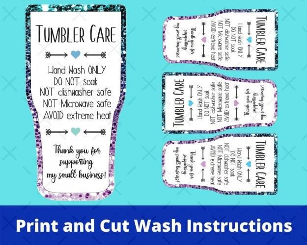 Printable Tumbler Care Card