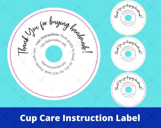 Cup Care Instruction Label