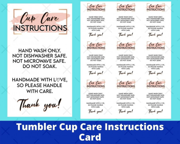 Tumbler Cup Care Instructions Card