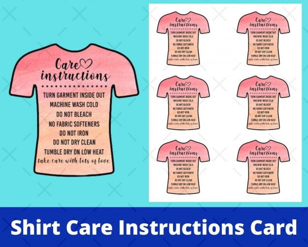 Shirt Care Instructions Card
