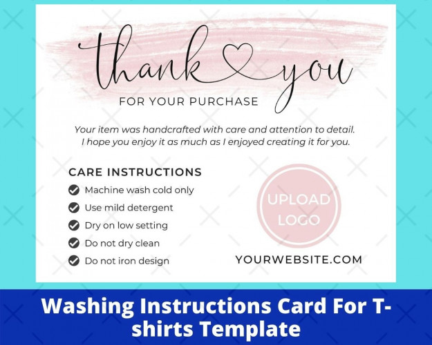 Washing Instructions Card For T-shirts Template