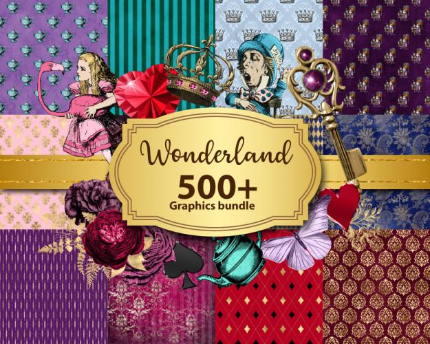 Wonderland Graphics Bundle, Vintage Alice Adventures, Digital Scrapbooking Graphics Discount Clip Art