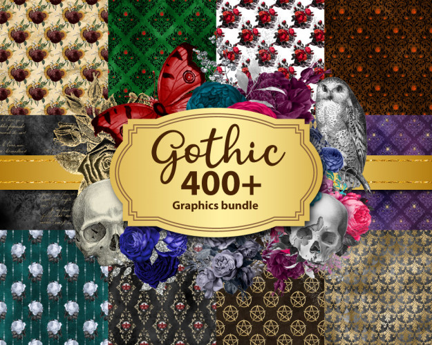Gothic Graphics Bundle, Discount Clipart And Digital Paper, Digital Scrapbooking, Vintage Ephemera