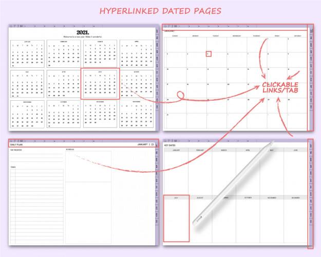 2021 Sunday Start Landscape Digital Planner