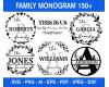 Family Monogram Svg Bundle, Split Alphabet Svg, Floral Monogram, Split Monogram Frame Alphabet