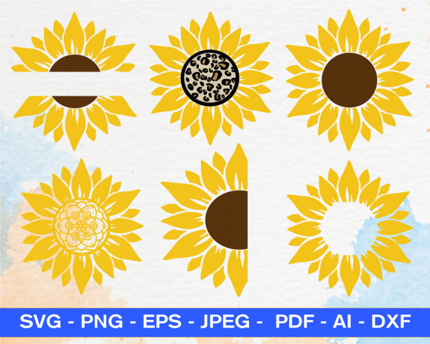 Sunflower Svg Bundle, Sunflower Svg, Flower, Monogram, Half Sunflower, Sunflower Svg Files