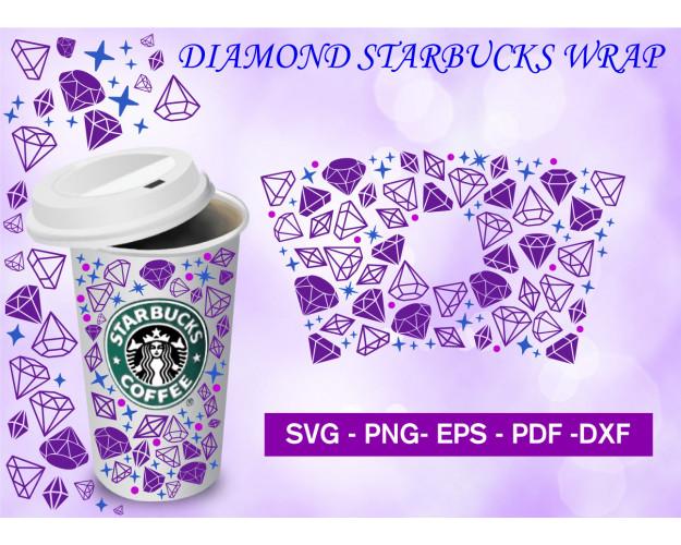 Starbucks Cup Svg, Diamond Starbucks Full Wrap For Starbucks, Venti Cold Cup 24oz, Png