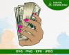 Female Hand Holding Money Svg, Knot Stack 100 Hundred Dollar Bill, Cash Rich, Gangster Crime Hustle Svg