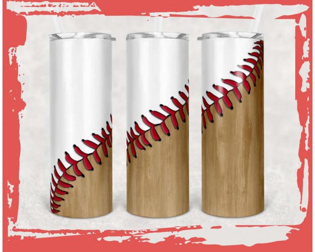 20 oz Skinny Tumbler Baseball Laces Sublimation Design