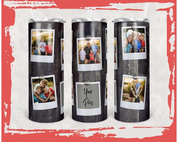 20 oz Skinny Tumbler Picture Frame Faux Wood 6 Picture Sublimation Design