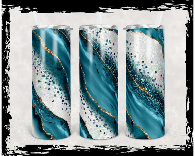 20 oz Skinny Tumbler Sublimation Template Agate Milky Way Teal Gold Straigh