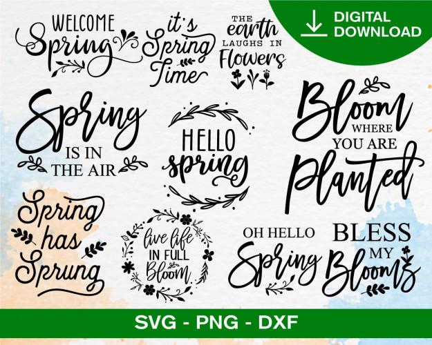 Spring Svg Bundle, Spring Svg, Welcome Spring Svg, Hello Spring Svg, Easter Svg, Spring Quote Svg
