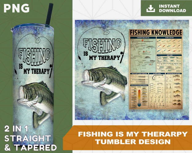 Fishing Is My Therarpy Sublimation Design Digital Download PNG