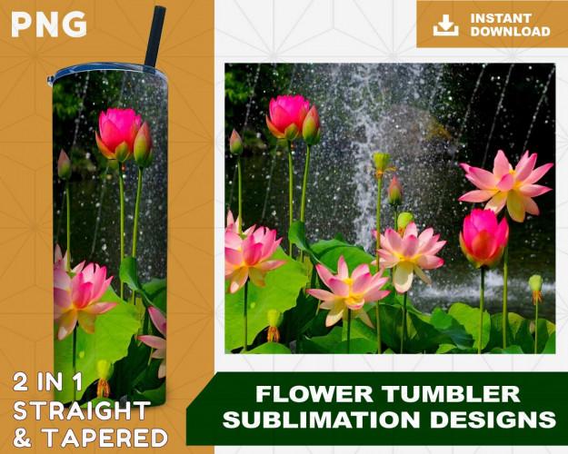 Flower Tumbler Sublimation Designs, Floral Tumbler for StraightTapered Tumbler PNG