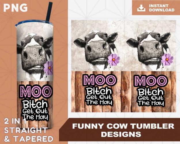 Funny Cow Tumbler Sublimation Designs PNG File Digital Download