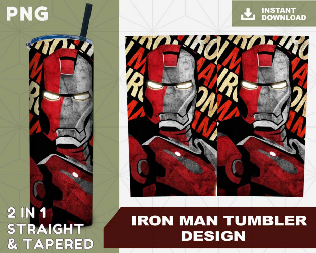 Iron Man Skinny Straight & Tapered Bundle,Bundle Template for Sublimation,Full Tumbler Wrap, PNG Digital,Instant Download