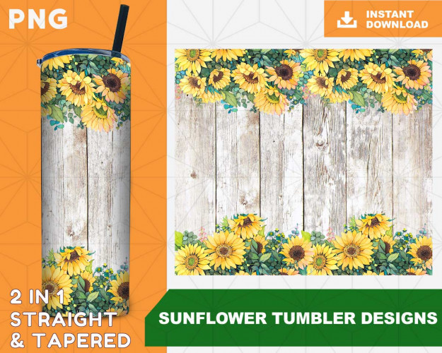 Sunflower Straight tumbler design, Tapered Tumbler PNG File Digital Download