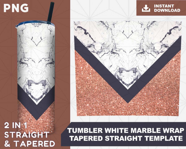 Tumbler white marble wrap tapered straight template digital download sublimation graphics instant download sublimation