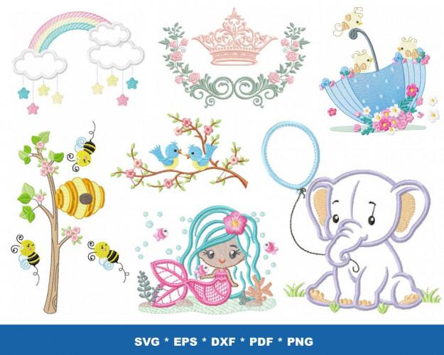 Machine Embroidery Designs 60+ Bundle ATR, DST, EXP, HUS