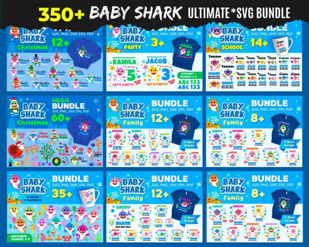 Baby Shark SVG 350+ Bundle, Baby Shark Cricut, Baby Shark Clipart