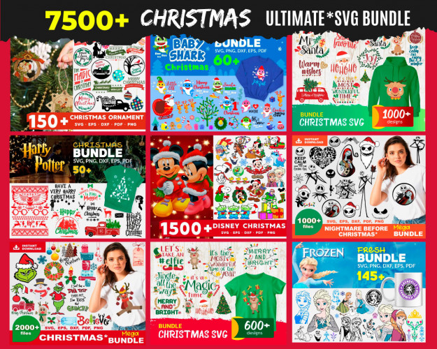 Christmas SVG 7500+ Bundle, Christmas Cricut, Christmas Clipart