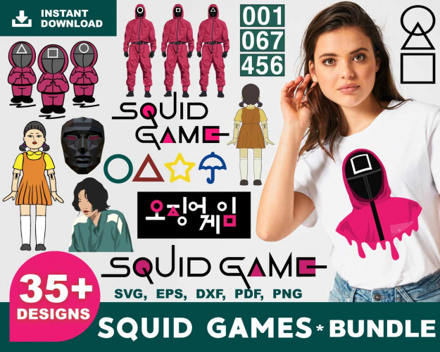 Squid Games SVG 35+ Bundle, Squid Games Cricut, Squid Games Clipart